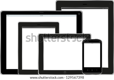 Set of tablet pc and smart phone with blank screen isolated on white, raster