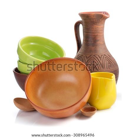 set of tableware isolated on white background - stock photo