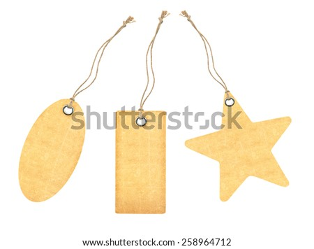 set of tag with metal rivets Isolated on White - stock photo