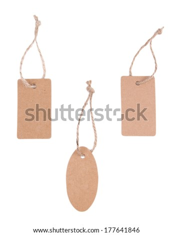 Set of tags isolated on white