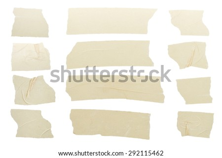 Set of tape pieces isolated on white - stock photo