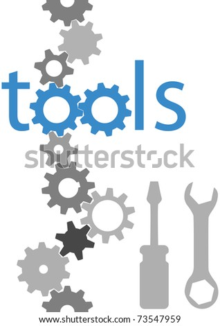 Set of technology tool icons symbols and border gears wrench screwdriver - stock photo