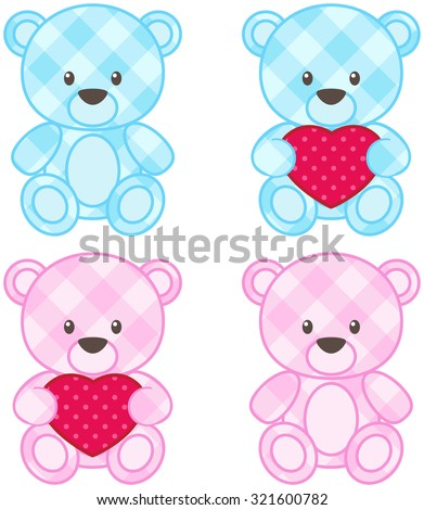 Set of teddy bears for boys and girls in blue and pink colors - stock photo