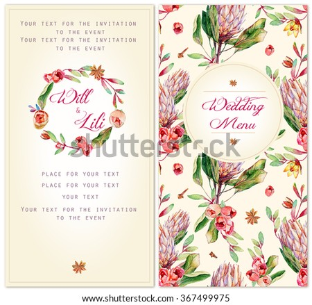 Set Templates Celebration Watercolor Illustrations Pink Stock - Celebrate it templates place cards
