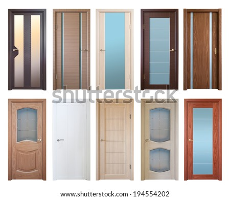 set of ten various wooden doors, isolated over white - stock photo