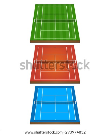 Set of Tennis Courts 3D with Nets 1 - stock photo