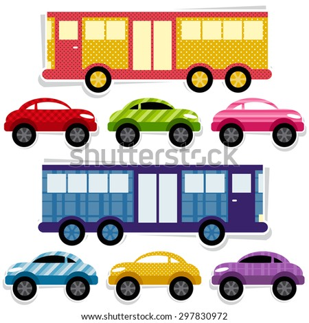 Set of textured cars and buses. Raster version - stock photo