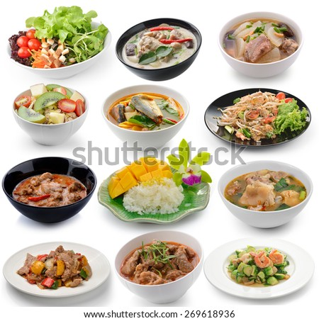 set of thai food on white background - stock photo