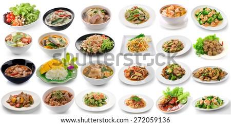 set of thai food on white background - stock photo