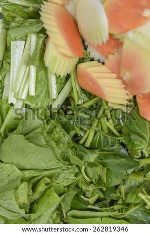 Set of thai vegetable ingredients - stock photo