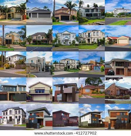 set of the australian houses - stock photo