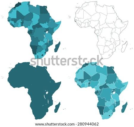 Set of the contour border Africa maps