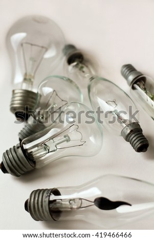 set of the different vintage electric bulbs, vertical background with copy space