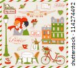 Set of the doodle sketches. Paris travel icons. - stock photo