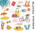 Set of the doodle sketches. Vacations travel icons. - stock photo