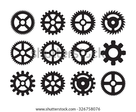 Set of the gears. The objects are isolated against the white background