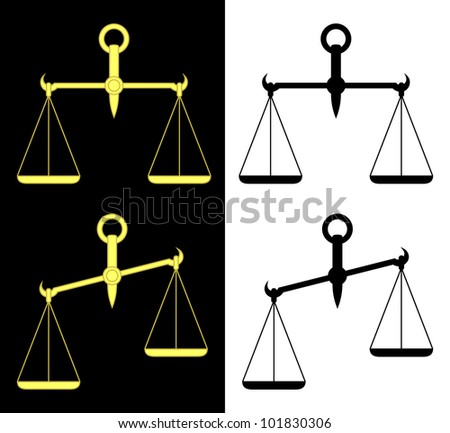 Set of the isolated scales. Yellow scales on a black background. Black scales on a white background. EPS version is available as ID 98306141. - stock photo