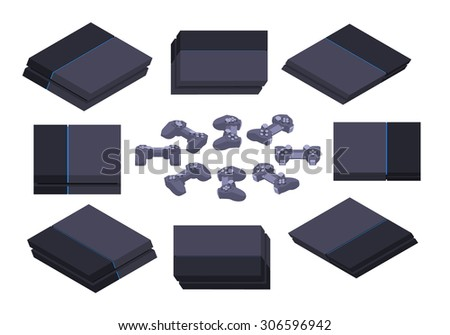 Set of the isometric black nextgen gaming consoles. The objects are isolated against the white background and shown from different sides - stock photo