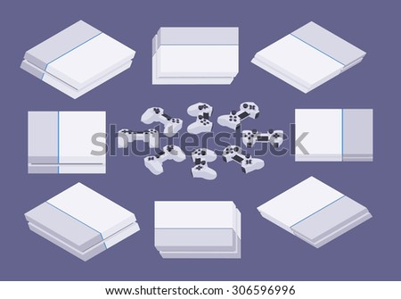 Set of the isometric white nextgen gaming consoles. The objects are isolated against the dark-violet background and shown from different sides - stock photo
