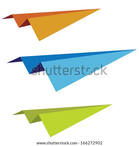 set of the  varicoloured paper planes