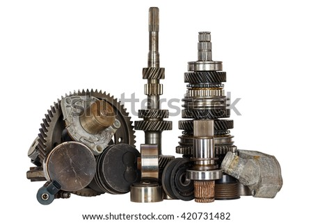 Set of the various spares of engine and gear box - stock photo