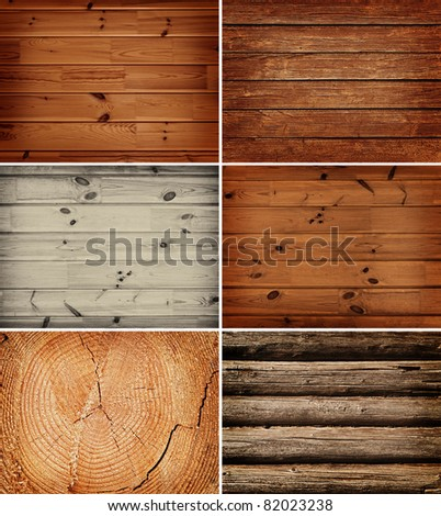 set of the wooden backgrounds - stock photo