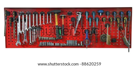 Set of the working tools. Isolated on white background - stock photo