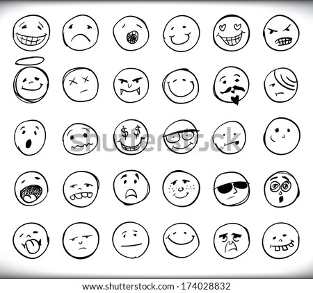 Set of thirty hand drawn emoticons or smileys each with a different facial expression and emotion, sketched outline on white - raster version of vector illustration - stock photo