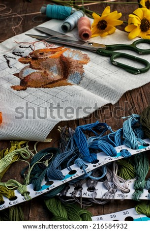 set of threads of different types,colors and lengths  - stock photo