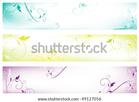 Set of three abstract colorful floral web banners with copyspace for your text - stock photo