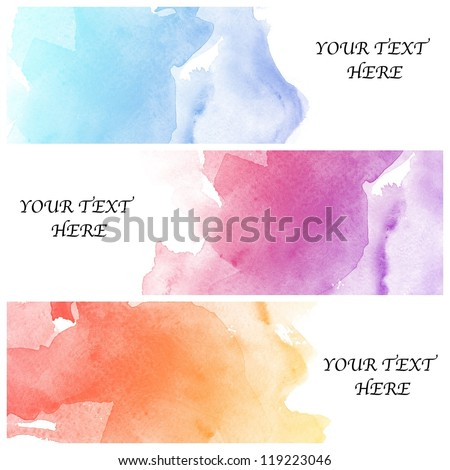set of three banners, abstract colorful water color background - stock photo