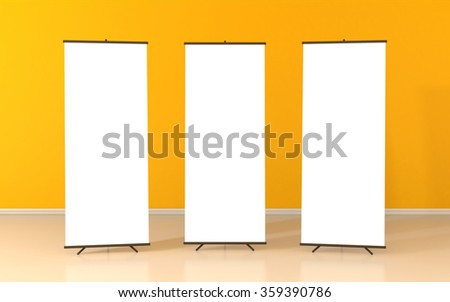 Set of three blank roll up posters - vertical billboard for text - stock photo