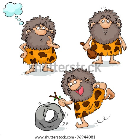 set of three cartoon cavemen (raster version) - stock photo