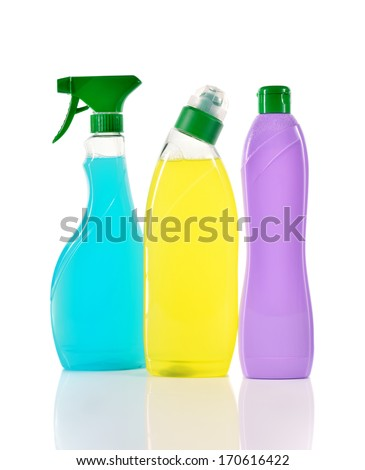 Set of three cleaning products. Spray blue cleaner, wc cleaner and cream cleaner isolated on white background.