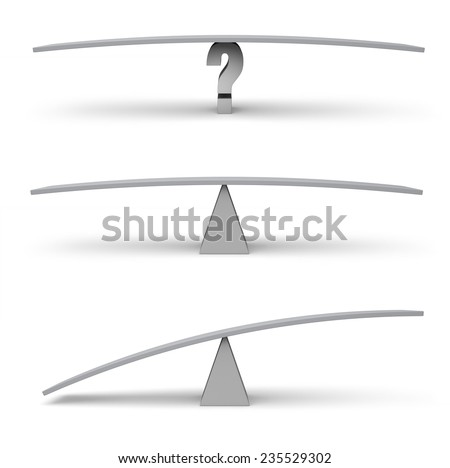 Set of three empty balance beams in balanced and unbalanced poses. Space for custom text or objects to be added. Isolated on white.  - stock photo