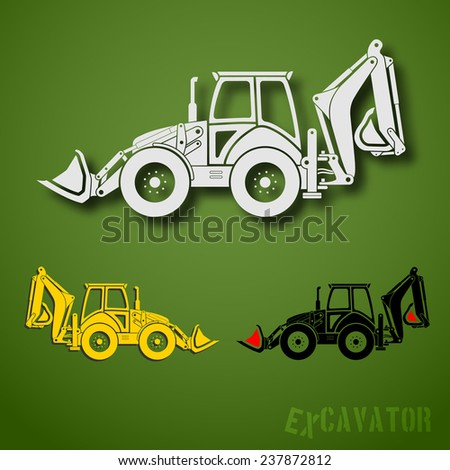 Set of three excavator emblems in white, black and yellow colors - stock photo