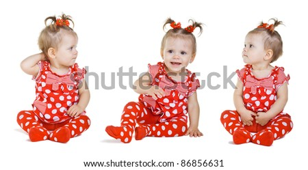 Set of three girls in a red dress, isolated on white background - stock photo