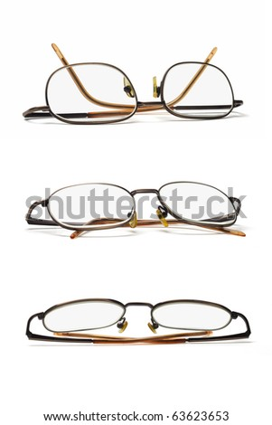 set of three metal frame spectacles on white background - stock photo