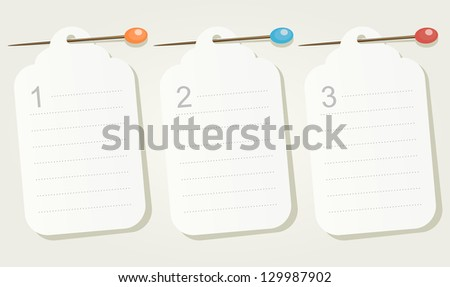 Set of three numbered pinned blank sheets of paper. Raster version, vector file available in portfolio. - stock photo