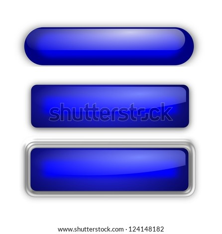 Set of three oblonged web buttons - stock photo