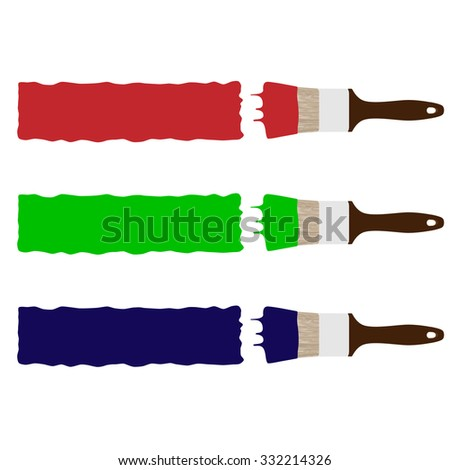 Set of three paint brush drawing brush stokes red, green and blue raster illustration. Paint brush painting banner - stock photo