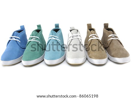 Set of three pairs of casual shoes - stock photo