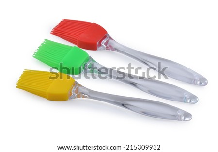 Set of three pastry brushes isolated on white - stock photo