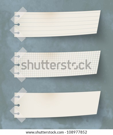 Set of three vintage paper's labels - stock photo