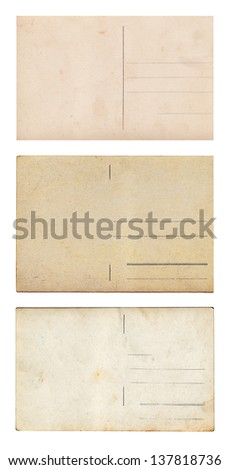 Set of three vintage postcards isolated on white - stock photo