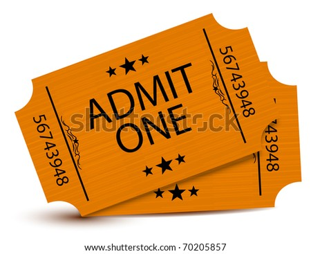Set of tickets isolated over a white background - stock photo