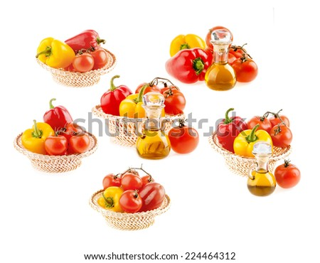 set of tomato and pepper olive oil in isolation