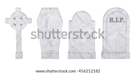 Set of tombstones isolated, 3D rendering isolated on white background - stock photo