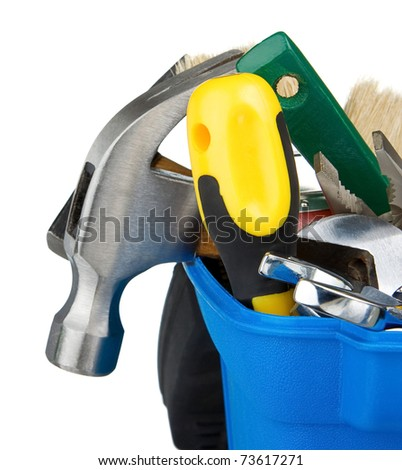 set of tools and instruments in plastic box isolated on white background - stock photo