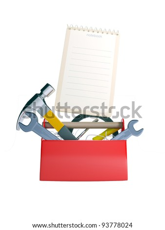 set of tools and instruments in plastic box isolated on white background